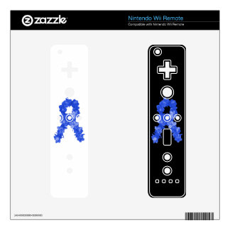 Awareness Ribbon In Blue Flowers Wii Remote Decals