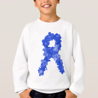 Awareness Ribbon In Blue Flowers Sweatshirt
