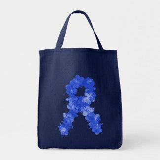 Awareness Ribbon In Blue Flowers Tote Bag
