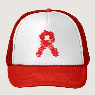 Awareness Ribbon In Red Flowers Trucker Hat
