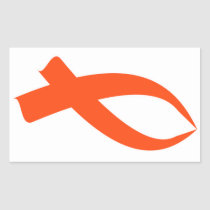 Awareness Ribbon (Orange) Rectangular Sticker