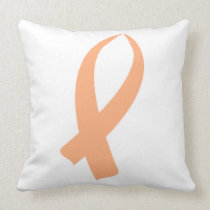 Awareness Ribbon (Peach) Throw Pillow