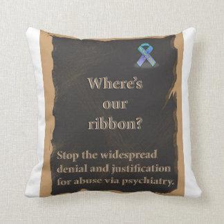 Awareness ribbon pillow to stop psychiatric abuse