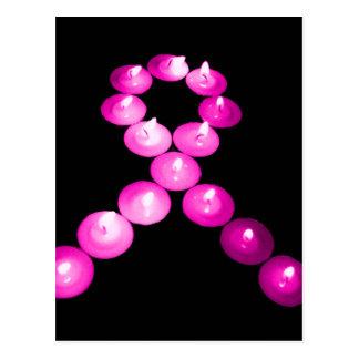 Awareness Ribbon Pink Candles Postcard