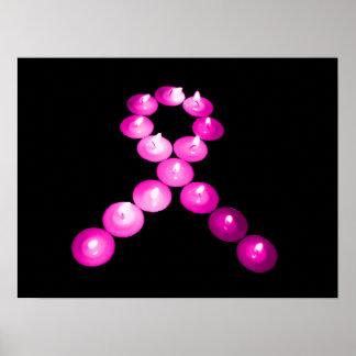 Awareness Ribbon Pink Candles Print