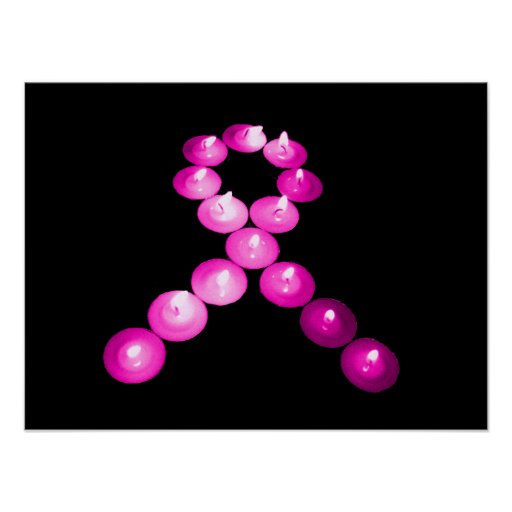 Awareness Ribbon Pink Candles Poster