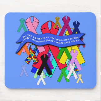 Awareness Ribbons for Universal Health Care Mouse Pad