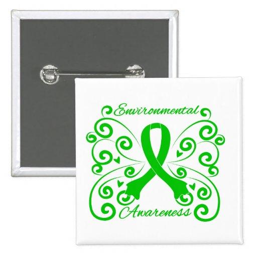 Awareness Swirl Butterfly Environmental Button