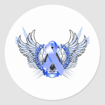 Awareness Tribal Blue Classic Round Sticker