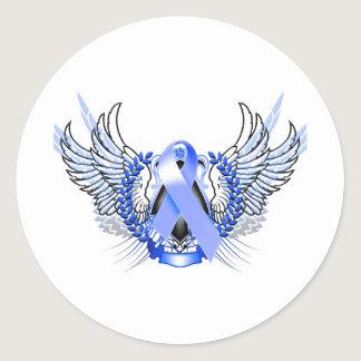 Awareness Tribal Blue Classic Round Sticker