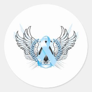 Awareness Tribal Light Blue Classic Round Sticker