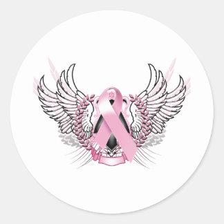 Awareness Tribal Pink Classic Round Sticker