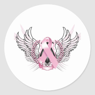 Awareness Tribal Pink Round Stickers