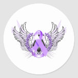 Awareness Tribal Purple Classic Round Sticker