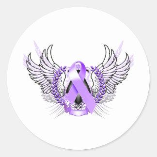 Awareness Tribal Purple Round Stickers