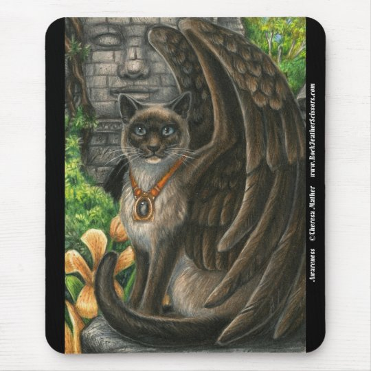 Awareness Winged Cat Mousepad