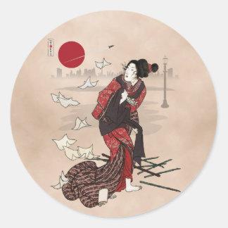 Awase del ukiyoye del kumo de Genji Etiqueta Redonda