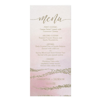 Awash Elegant Watercolor in Blush Wedding Menu