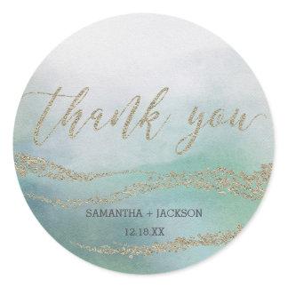 Awash Elegant Watercolor in Ocean Monogram Wedding Classic Round Sticker