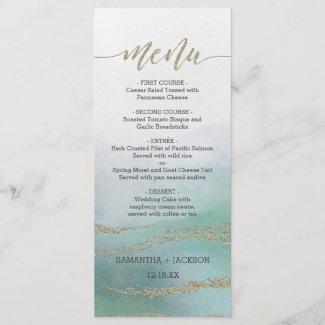 Awash Elegant Watercolor in Ocean Wedding Menu