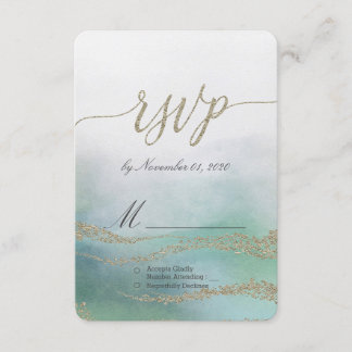 Awash Elegant Watercolor in Ocean Wedding RSVP