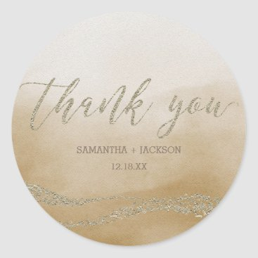 Beach Themed Awash Elegant Watercolor in Sand Monogram Weddi Classic Round Sticker
