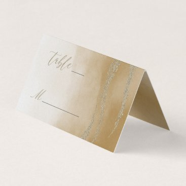 Beach Themed Awash Elegant Watercolor in Sand Table Number Place Card
