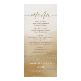 Awash Elegant Watercolor in Sand Wedding Menu