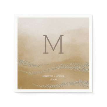 Beach Themed Awash Elegant Watercolor in Sand Wedding Monogr Paper Napkin