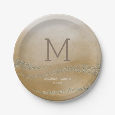 Beach Themed Awash Elegant Watercolor in Sand Wedding Monogr Paper Plate
