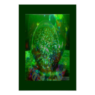 Awash in Cosmic Green Poster