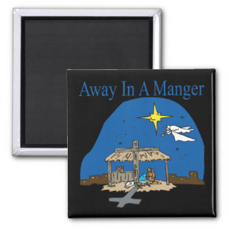 Away In A Manger 2 Inch Square Magnet