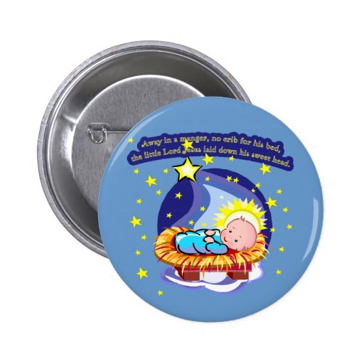 Away in a Manger Christmas Carol T-shirts, Gifts 2 Inch Round Button