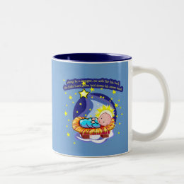 Away in a Manger Christmas Carol T-shirts, Gifts Two-Tone Coffee Mug