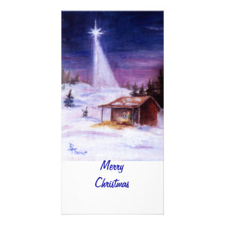 Away In a Manger Photocard Photo Greeting Card