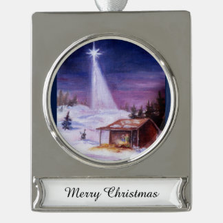 Away In a Manger Silver Plated Banner Ornament