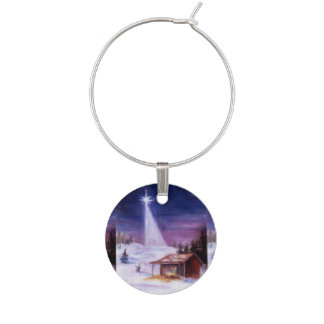 Away in a Manger Wine Glass Charm