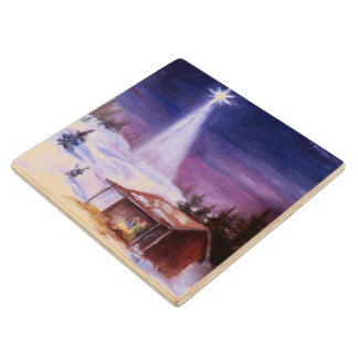 Away In a Manger Wood Coaster