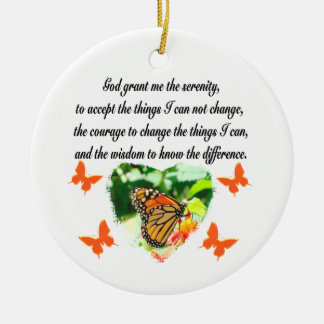 AWE INSPIRING BUTTERFLY SERENITY PRAYER PHOTO CERAMIC ORNAMENT