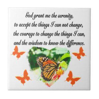 AWE INSPIRING BUTTERFLY SERENITY PRAYER PHOTO CERAMIC TILE
