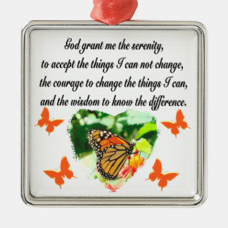 AWE INSPIRING BUTTERFLY SERENITY PRAYER PHOTO METAL ORNAMENT