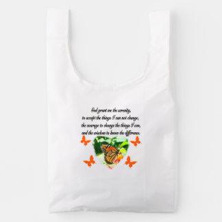 AWE INSPIRING BUTTERFLY SERENITY PRAYER PHOTO REUSABLE BAG