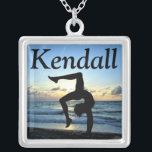 """AWE-INSPIRING CUSTOM GYMNASTICS NECKLACE<br><div class=""""desc"""">Encourage your terrific Gymnast with this inspiring personalized Gymnastics necklace from www.zazzle.com/mysportsstar. This Gymnast was born to dazzle, sparkle, and shine. This unique and custom Gymnastics jewelry is the perfect gift for Birthdays, Holidays, or any occasion. This Gymnast was born to tumble, lead, flip and fly. Your amazing Gymnast will...</div>"""