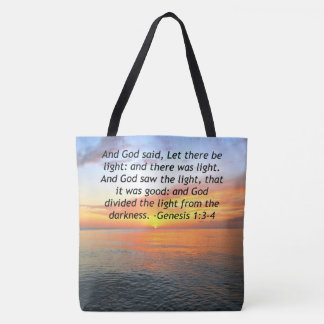 AWE-INSPIRING GENESIS 1:3 SUNRISE PHOTO DESIGN TOTE BAG