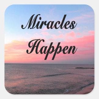 AWE INSPIRING MIRACLES HAPPEN SUNRISE PHOTO SQUARE STICKER