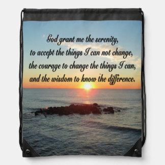 AWE INSPIRING SERENITY PRAYER DESIGN DRAWSTRING BAG