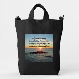 AWE INSPIRING SERENITY PRAYER DESIGN DUCK BAG