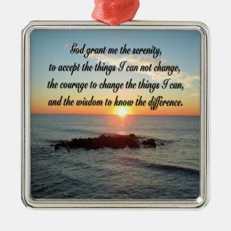 AWE INSPIRING SERENITY PRAYER DESIGN METAL ORNAMENT