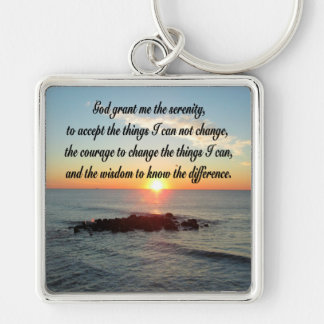 AWE INSPIRING SERENITY PRAYER DESIGN Silver-Colored SQUARE KEYCHAIN