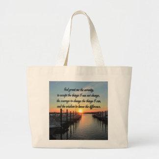 AWE-INSPIRING SERENITY PRAYER SUNSET PHOTO DESIGN LARGE TOTE BAG